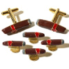 Cigar Tuxedo Gold and Enamel Cufflinks Stud Set