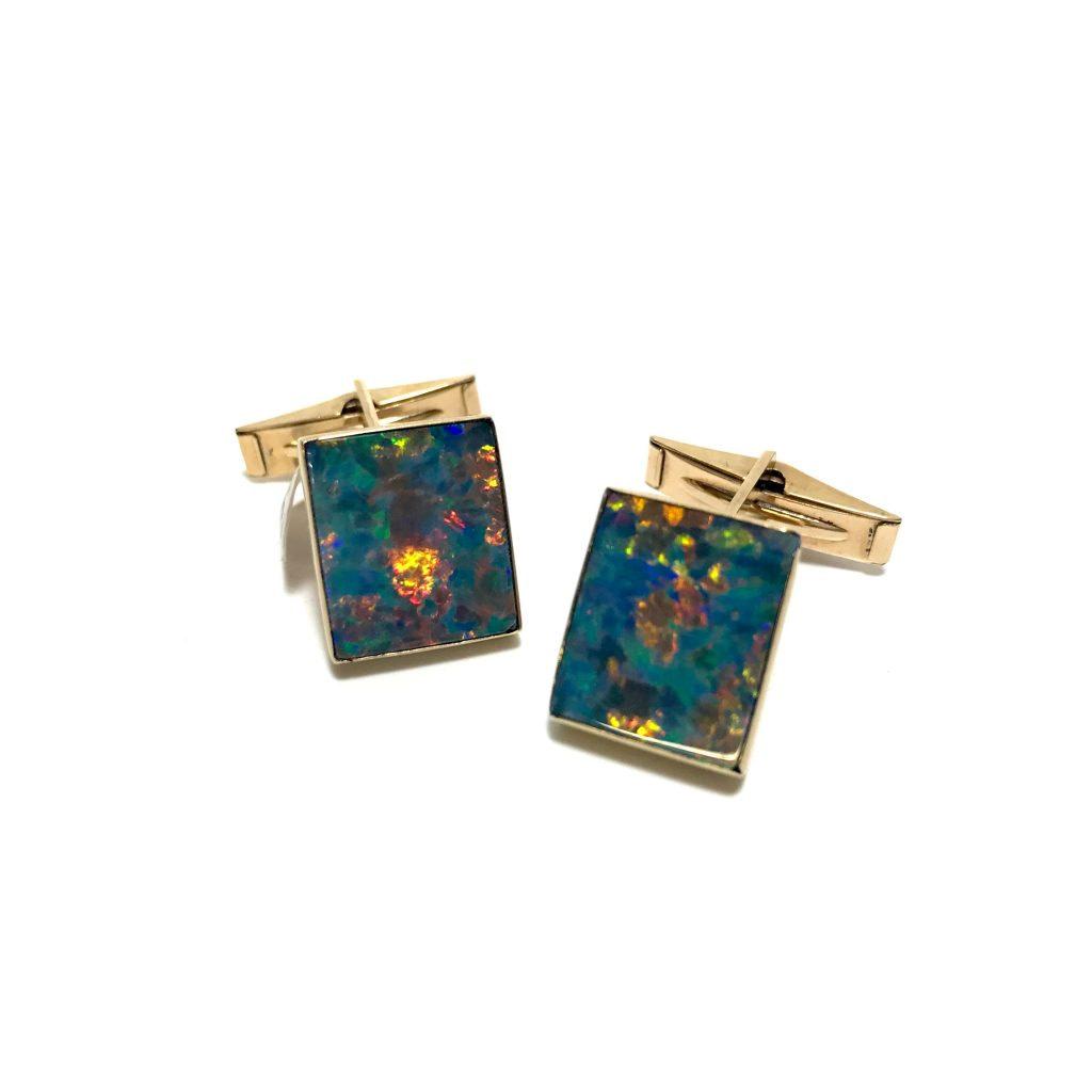 14K Gold and Black Opal Cufflinks