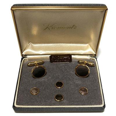 Antique Art Deco Krementz Gold Filled Abalone Tuxedo Stud Set with Matching Cufflinks