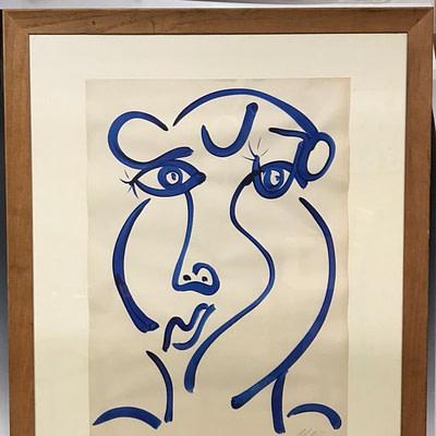 Neo Expressionism Blue Lady Acrylic Painting Peter Keil Studio Paris 1970's