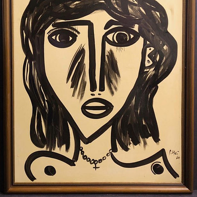 "Vintage Oil on Canvas ""Abstract Face"" Painting by Peter Robert Keil Palma 1960's"