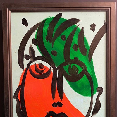 Expressionism Abstract Face Portrait Oil Painting Peter Keil Green/Orange/Black