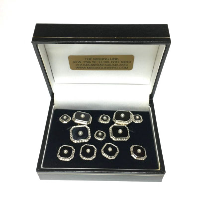 14K Gold Tuxedo Stud Set with Onyx and Pearl