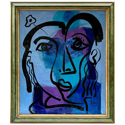"Peter Keil ""the Blue Period"" Expressionist Oil Portrait Painting"