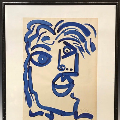 "Peter Keil ""Blue Picasso"" Acrylic Painting"