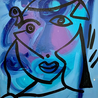 "Peter Keil ""The Blue Lady"" Oil Painting"