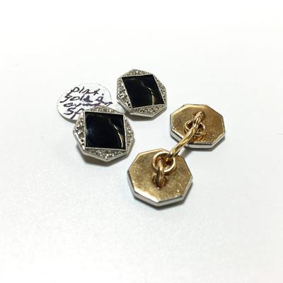 14K Gold Platinum Diamond and Onyx Cufflinks Shirt Studs1