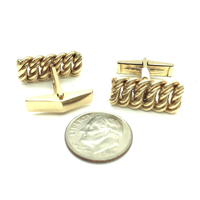 14K Gold Braided Cufflinks