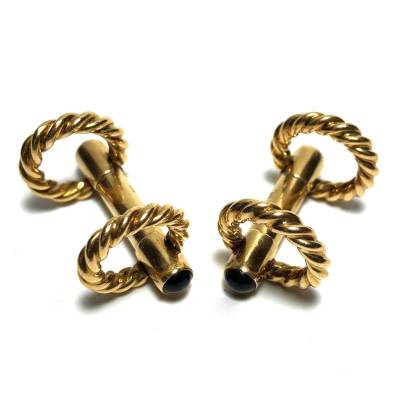 Gucci 18K Gold Stirrup Double Sided Cufflinks