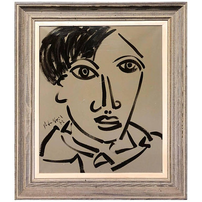 Peter Keil Expressionist Oil Painting 'Portrait of my friend Pablo Picasso'