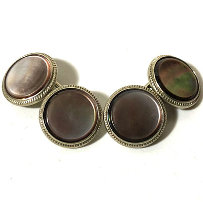Krementz Chrome and Abalone Stud Set