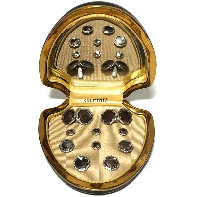 Antique Krementz Gold Filled Abalone with Black Enamel and Platinum Inlay Rims Complete Tuxedo Stud Set