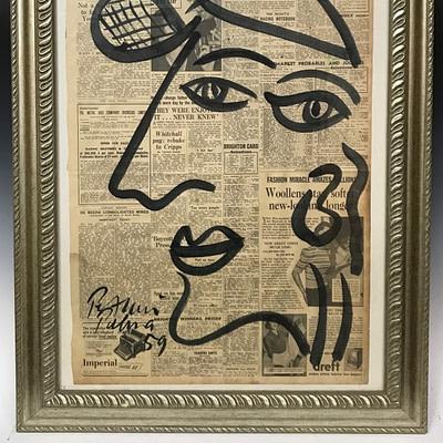 """Peter Keil """"Peter Robert Keil"""" Acrylic Newsprint Painting"""