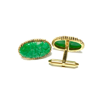 14K Gold Carved Jade Cufflinks 1