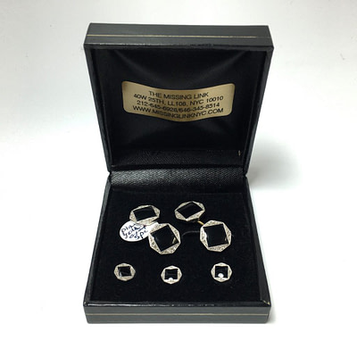 14K Gold Platinum Diamond and Onyx Cufflinks Shirt Studs