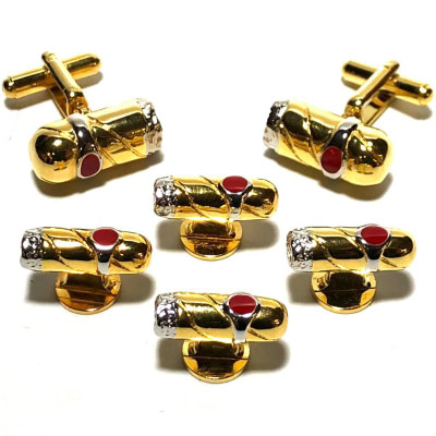 Cigar Tuxedo Gold Cufflinks and Shirt Studs