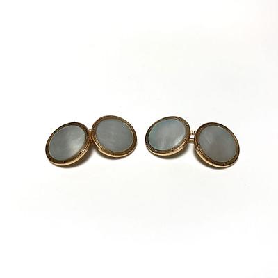 Platinum and Pearl Krementz Cufflinks and Stud Set