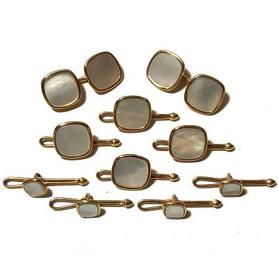 Antique Art Deco Krementz 14k Gold with Mother Of Pearl Complete Tuxedo Stud Set