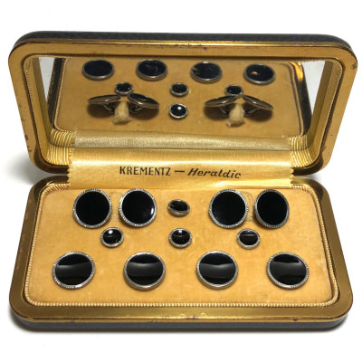 Antique Art Deco Krementz Gold Filled and Black Enamel with Platinum Inlay Rims Complete Tuxedo Stud Set