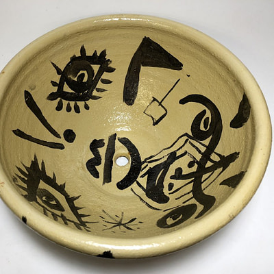 Peter Keil Abstract Oil Painted Bowl Ceramic
