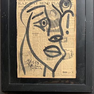 """Peter Keil """"Studio Miro"""" Newsprint Painting"""
