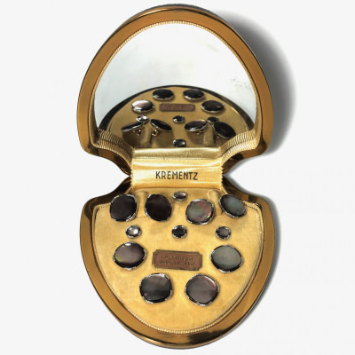 Antique Art Deco Krementz Gold Filled with Abalone and Black Enamel with Platinum Inlay RIms Complete Tuxedo Stud Set