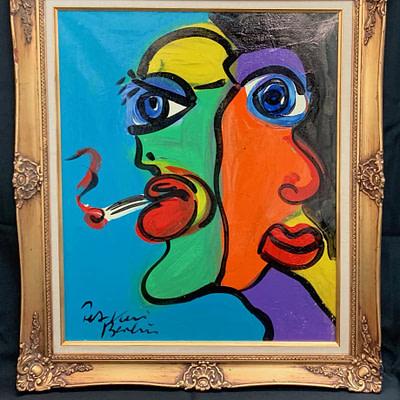 """Peter Keil """"American Twins"""" Oil Painting"""