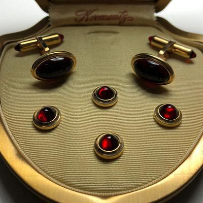 Krementz Gold and Red Glass Stud Set 4A