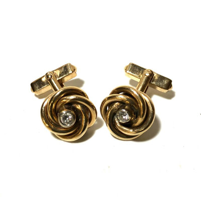10K Gold and Diamond Knots Cufflinks