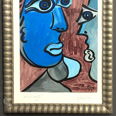 """Peter Keil """"The Blue Face"""" Oil Painting 1974"""