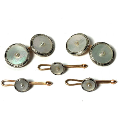 Antique Art Deco Krementz 14k Gold with Pearl and Mother Of Pearl with Platinum Inlay Rims Tuxedo Stud Set with Matching Cufflinks
