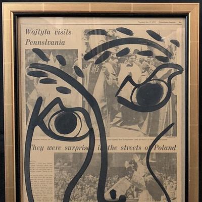 Peter Keil Pair of Newsprint Acrylic Paintings