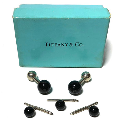 Tiffany & Co. Silver and Onyx Stud Set