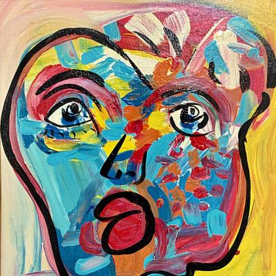"Peter Keil ""My Friend Andy Warhol"" Oil Painting"