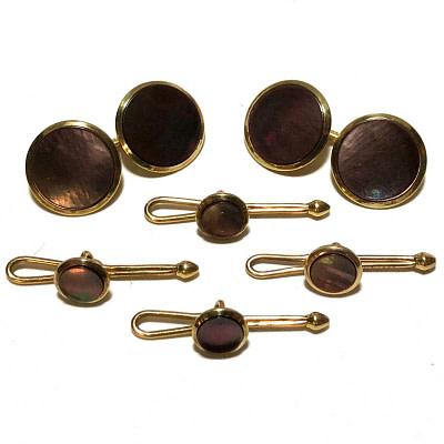 Antique Art Deco Krementz 14k Gold and Abalone Tuxedo Stud Set with Matching Cufflinks