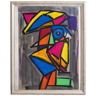 "Peter Keil ""Abstract Face"" Cubism Oil Painting"