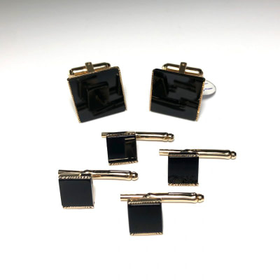 Gold and Onyx Cufflinks 4 Stud Set