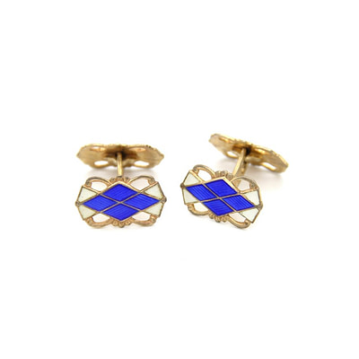1940s Retro Norwegian Sterling Cufflinks with Enamel