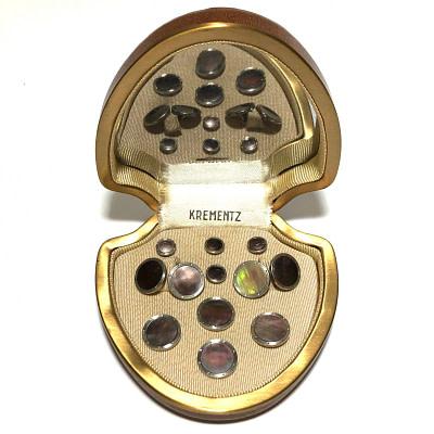 Antique Art Deco Krementz Gold Filled Abalone and Platinum Inlay Rims Complete Tuxedo Stud Set