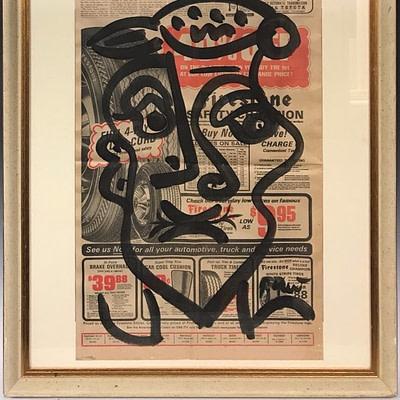 """Peter Keil """"News Today"""" Acrylic Newsprint Painting"""