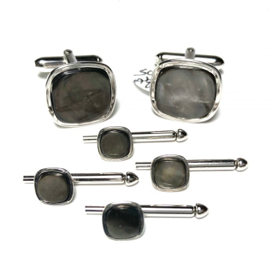 Silver and Abalone Stud Set