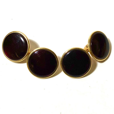 Krementz Gold and Red Stud Set