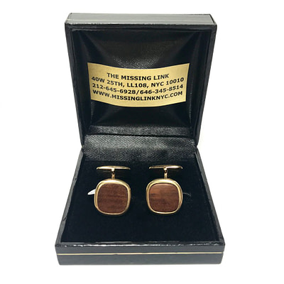 14K Gold and Wood Cufflinks Circa 1960s 2