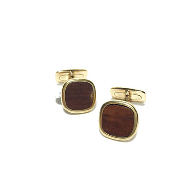 14K Gold and Wood Cufflinks Circa 1960s