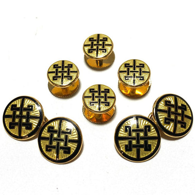 18K Gold English Enamel Stud Set