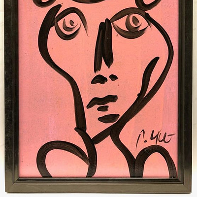 Neo Expressionism Abstract Face Pink/Black Portrait Oil Painting by Peter Keil