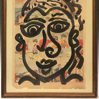 "Peter Keil ""Me In New York"" Acrylic Newsprint Painting"