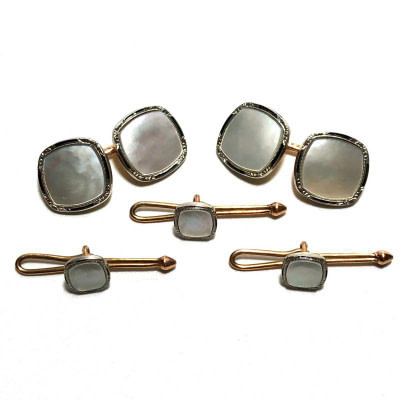 Antique Art Deco Krementz 14k Gold with Black Enamel and Mother Of Pearl with Platinum Inlay Rims Tuxedo Stud Set with Matching Cufflinks