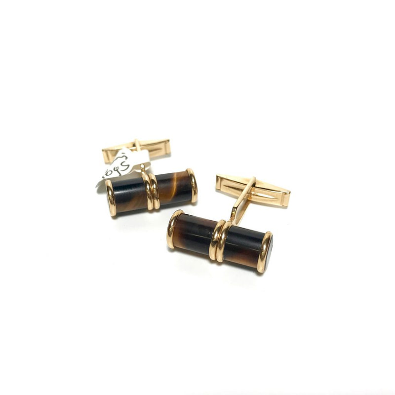 14K Gold and Tiger Eyes Cufflinks